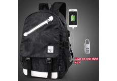 Рюкзак школьный непромокаемый. (цвет черный с узорами)