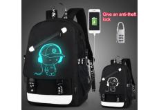 Рюкзак школьный непромокаемый. (цвет черный, со светоотражателем меломан)