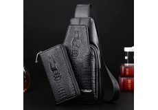 Кожаная сумка-рюкзак Wild Alligator + клатч