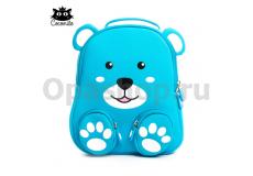 """Детский водостойкий 3D рюкзак с ортопедической спинкой. """"Медвежонок"""" голубого цвета"""