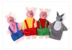 Пальчиковые куклы - Три поросенка. (набор из 4 шт.)
