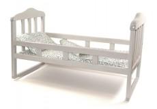 Кроватка деревянная для куклы большая (белая)